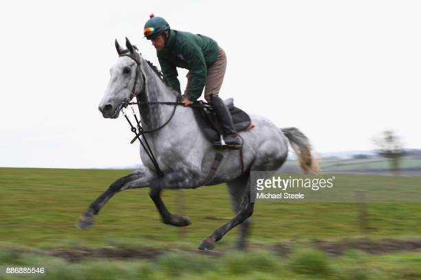 Bristol de Mei works out on the polytrack gallop during a stable visit to the yard of national hunt trainer Nigel TwistonDavies at Grange Hill Farm...