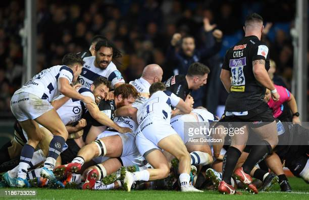 Bristol drive over the line to score the winning try scored by Dan Thomas during the Gallagher Premiership Rugby match between Exeter Chiefs and...