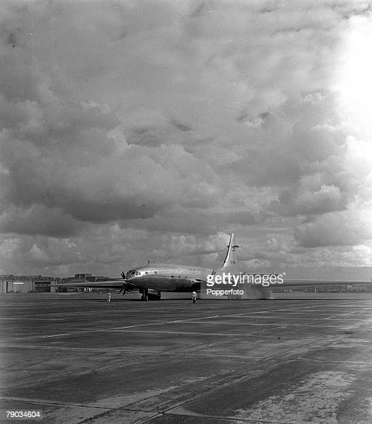 Bristol England A Brabazon aeroplane is pictured taxying up the runway before taking off during safety tests on its maiden flight