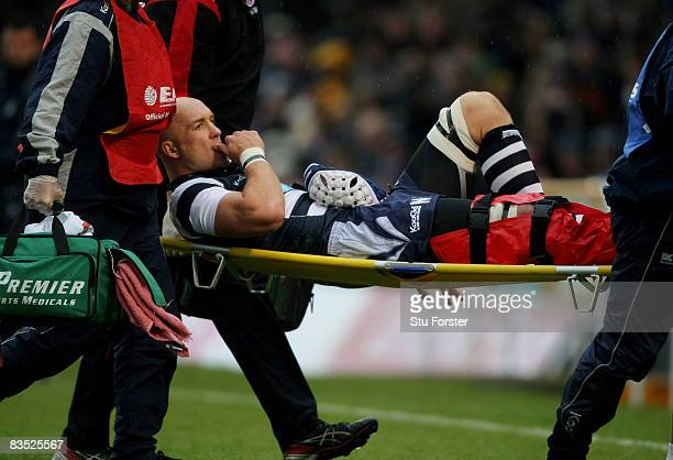 Bristol forward Nathan Budgett is stretchered off with a suspected broken leg during the EDF Energy Group D Match between Bristol Rugby and Saracens...