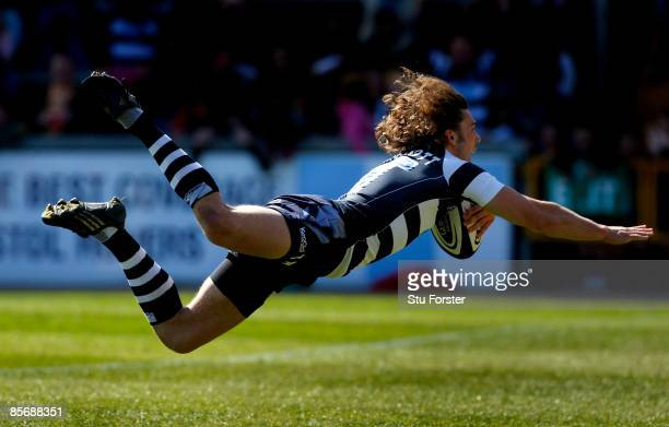 Bristol full back Tom Arscott dives over to score a try during the Guinness Premiership match between Bristol and Worcester Warriors at the Memorial...