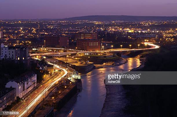 bristol habour at dusk - bristol stock photos and pictures
