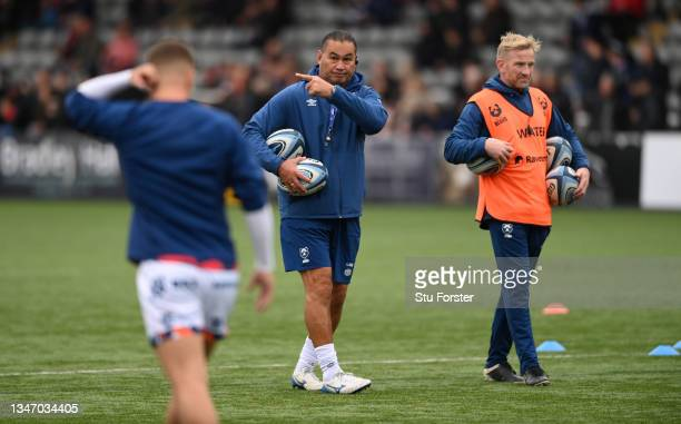 Bristol head coach Pat Lam reacts during the warm up during the Gallagher Premiership Rugby match between Newcastle Falcons and Bristol Bears at...