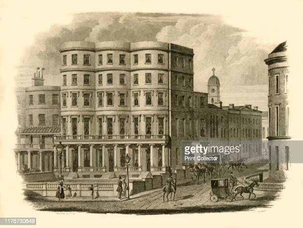 Bristol Hotel, Marine Parade, Brighton', 1835. The Bristol Hotel was built and owned by William Hallett who became Mayor in 1855. Steel engraving by...