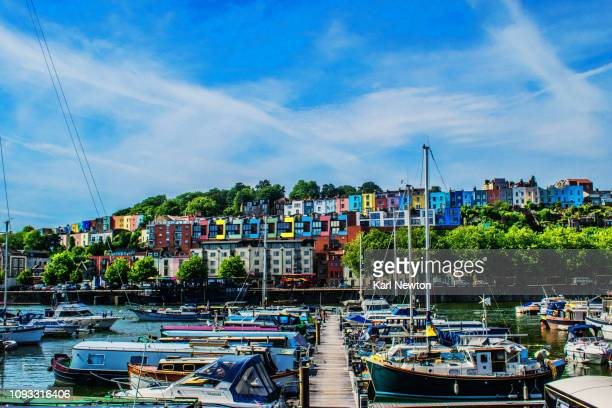 bristol marina in summer with coloured houses - bristol stock pictures, royalty-free photos & images