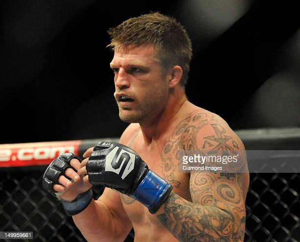 Bristol Marunde looks for an opening to throw a punch during a welterweight bout at the the Strikeforce event at Nationwide Arena on March 3 2012 in...