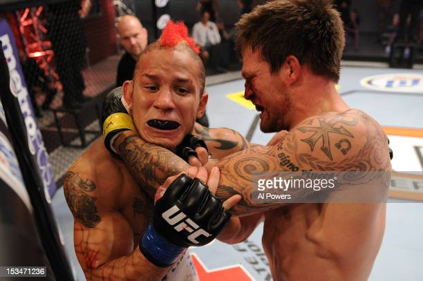Bristol Marunde punches Julian Lane during their preliminary fight during filming of The Ultimate Fighter Season 16 aired on FX Network October 5 at...