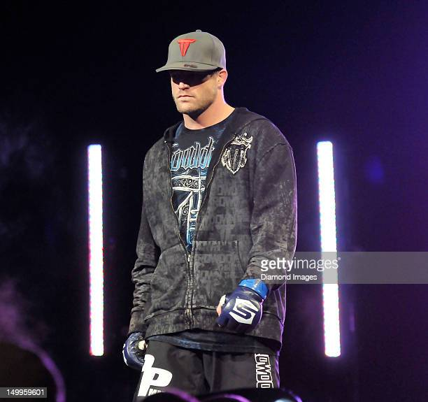 Bristol Marunde walks to the cage before a middle weight bout during the Strikeforce event at Nationwide Arena on March 3 2012 in Columbus Ohio