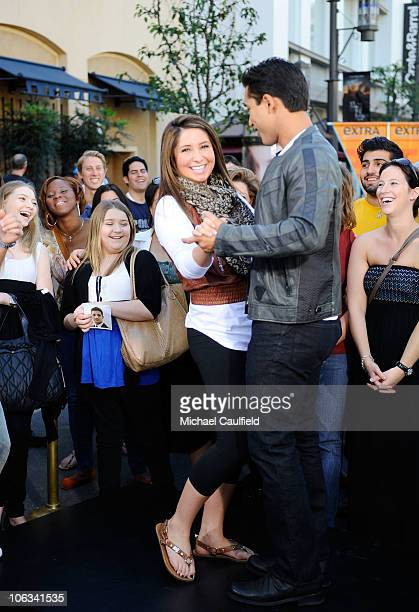 Bristol Palin and Mario Lopez dance on the set of Extra at the Grove on October 28 2010 in Los Angeles California