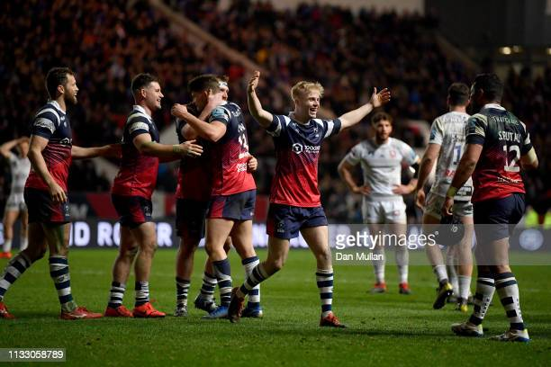 Bristol palyers celebrate at the final whistle during the Gallagher Premiership Rugby match between Bristol Bears and Gloucester Rugby at Ashton Gate...
