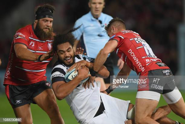 Bristol player Chris Vui runs into the Gloucester defence during the Gallagher Premiership Rugby match between Gloucester Rugby and Bristol Bears at...