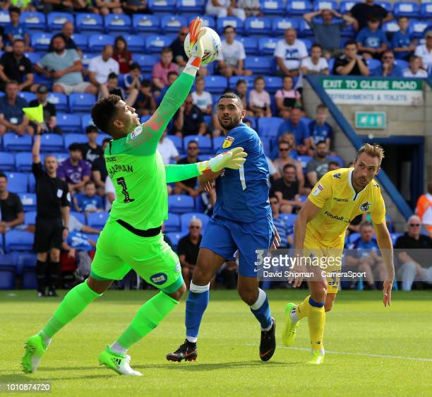 Bristol Rovers' Alex Rodman sees his effort saved by Peterborough United's Aaron Chapman during the Sky Bet League One match between Peterborough...