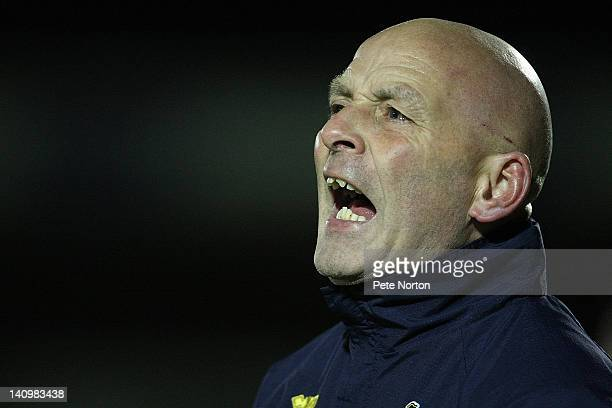 Bristol Rovers assistant manager Shaun North shouts instructions during the npower League Two match between Northampton Town and Bristol Rovers at...