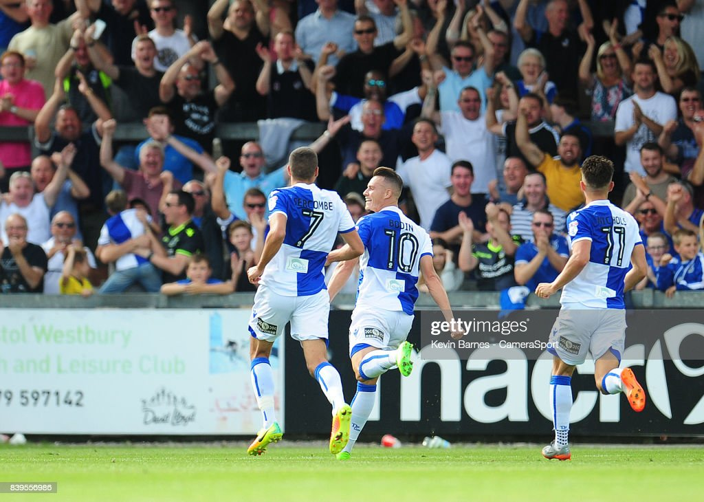 Bristol Rovers' Billy Bodin celebrates scoring his sides second goal during the Sky Bet League One match between Bristol Rovers and Fleetwood Town at Memorial Stadium on August 26, 2017 in Bristol, England.