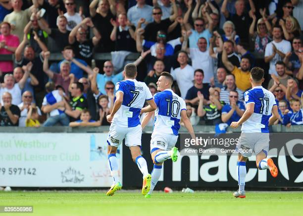 Bristol Rovers' Billy Bodin celebrates scoring his sides second goal during the Sky Bet League One match between Bristol Rovers and Fleetwood Town at...