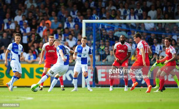 Bristol Rovers' Billy Bodin scores his sides second goal during the Sky Bet League One match between Bristol Rovers and Fleetwood Town at Memorial...