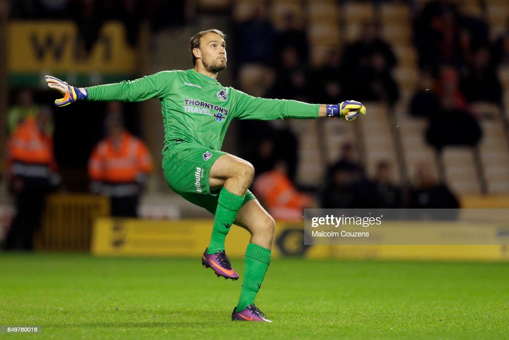 Bristol Rovers goalkeeper Sam Slocombe clears the ball during the Carabao Cup tie between Wolverhampton Wanderers and Bristol Rovers at Molineux on September 19, 2017 in Wolverhampton, England.