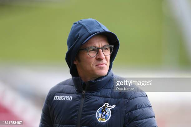 Bristol Rovers manager Joey Barton looks on prior to the Sky Bet League One match between Northampton Town and Bristol Rovers at PTS Academy Stadium...