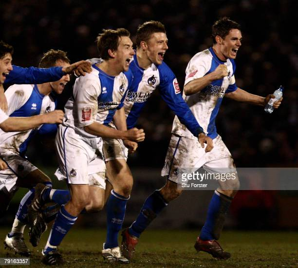Bristol Rovers players celebrate after winning 5-3 on penalty kicks during the FA Cup sponsored by E.ON 3rd Round Replay between Bristol Rovers and...