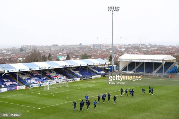 Bristol Rovers players take part in a training session on the pitch after the Sky Bet League One match between Bristol Rovers and Swindon Town was...
