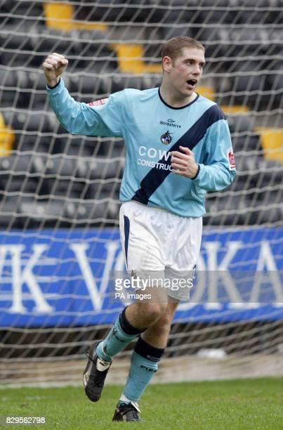 Bristol Rovers' Richard Walker celebrates after scoring