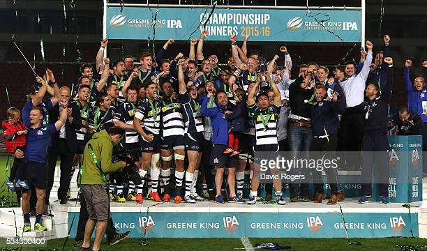 Bristol Rugby celebrate after their victory during the Greene King IPA Championship Play Off Final second leg match between Bristol and Doncaster...