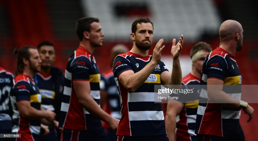 Bristol Rugby players applauded the fans at the final whistle during the Greene King IPA Championship match between Bristol Rugby and Hartpury College at Ashton Gate on September 3, 2017 in Bristol, England.