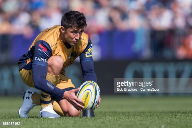 Bristol Rugby's Gavin Henson lines up a conversion during the Aviva Premiership match between Exeter Chiefs and Bristol Rugby at Sandy Park on April...