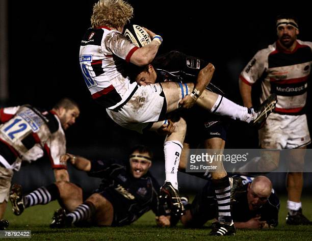 Bristol scrum half Brian O'Riordan puts in a big tackle on Saracens player Don Barrell during the Guinness Premiership game between Bristol and...