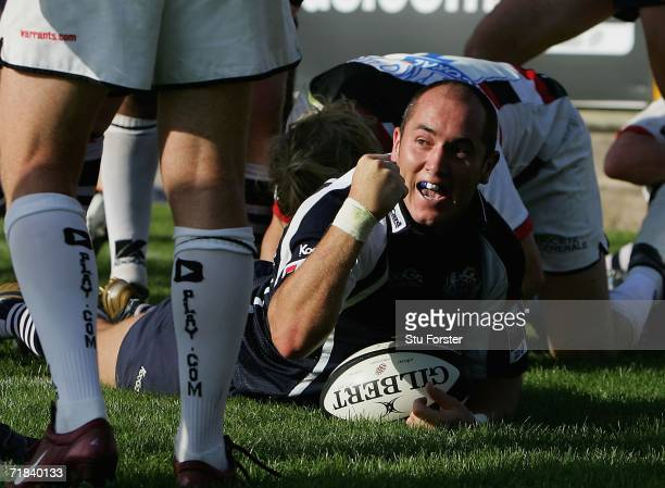 Bristol scrum half Shaun Perry celebrates after scoring the equalising try during the Guinness Premiership match between Bristol and Saracens at The...