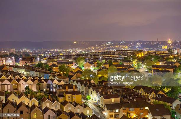 bristol skyline at night - bristol stock photos and pictures