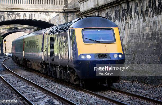 Bristol Temple Meads bound train approaches Bath Spa station on the Great Western railway line on February 19 2016 in Bath England The...