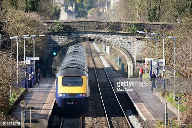 Bristol Temple Meads bound train gathers speed as it leaves Bath Spa station on the Great Western railway line on February 19 2016 in Bath England...
