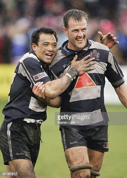 Bristol try scorer Brian Lima celebrates with team mate Gareth Llewellyn after winning the Guinness Premiership match between Gloucester and Bristol...