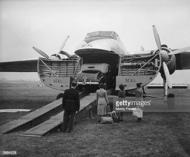 A Bristol Type 170 Mk32 Silver City Airways plane originally designed as a military transport here seen after its inaugural flight being used as a...