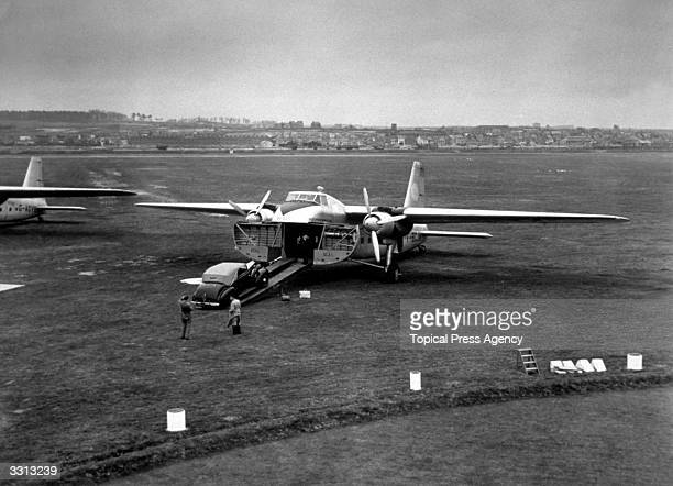 Bristol Type 170 Mk32 Silver City Airways plane originally designed as a military transport here seen after its inaugural flight being used as a...
