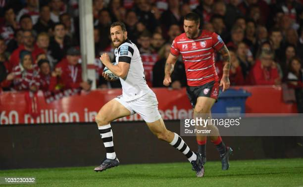 Bristol wing Luke Morahan races away to score thre first try during the Gallagher Premiership Rugby match between Gloucester Rugby and Bristol Bears...