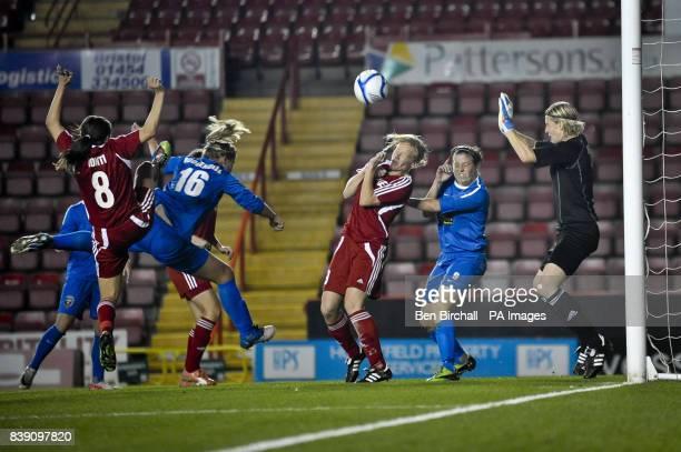 Bristol's Anouk Hoogendijk sees her header saved by Voronezh's Veronica Shulga during the UEFA Women's Champions League match at Ashton Gate Bristol