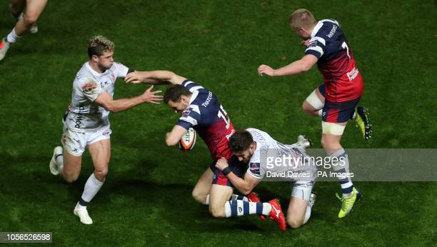 Bristol's Luke Morahan is tackled y Gloucester's Owen Williams during the Gallagher Premiership match at Ashton Gate Bristol
