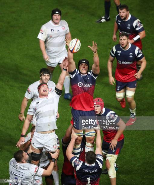 Bristol's Sam Jeffries wins a lineout during the Gallagher Premiership match at Ashton Gate Bristol