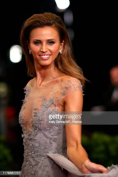 Brit Davis partner of Joel Selwood of the Cats arrives ahead of the 2019 Brownlow Medal at Crown Palladium on September 23 2019 in Melbourne Australia
