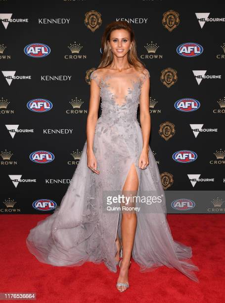 Brit Davis the partner of Joel Selwood of the Cats arrives ahead of the 2019 Brownlow Medal at Crown Palladium on September 23, 2019 in Melbourne,...