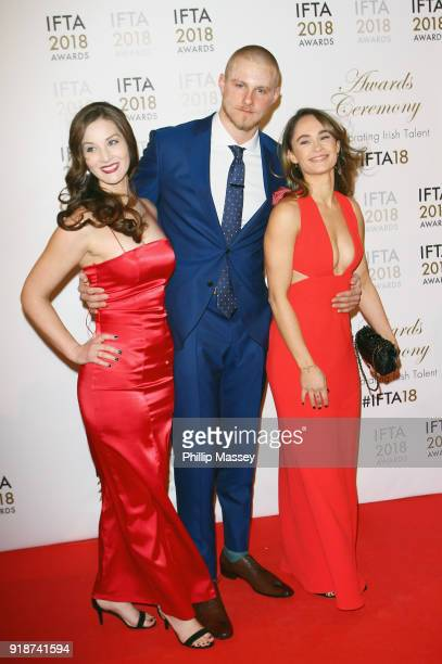 Brit Landa Alexander Ludwig and Kristy Dawn Dinsmore attend the 'IFTA Film Drama Awards' at Mansion House on February 15 2018 in Dublin Ireland