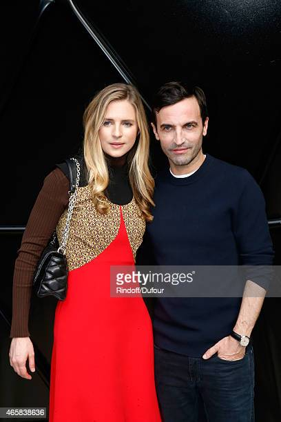 Brit Marling and Fashion Designer Nicolas Ghesquiere pose after the Louis Vuitton show as part of the Paris Fashion Week Womenswear Fall/Winter...