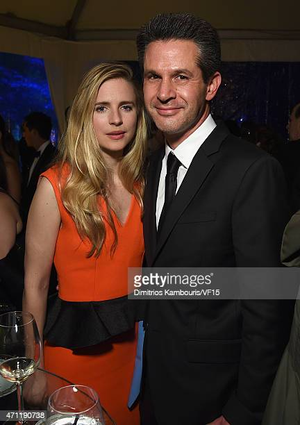 Brit Marling and Simon Kinberg attend the Bloomberg Vanity Fair cocktail reception following the 2015 WHCA Dinner at the residence of the French...