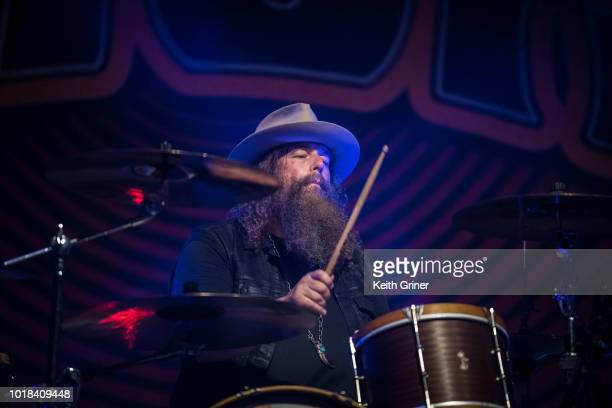 Brit Turner of Blackberry Smoke performs at The Lawn at White River State Park on August 12 2018 in Indianapolis Indiana