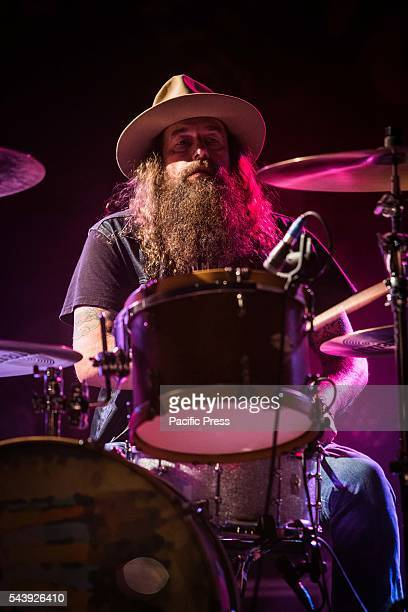 Brit Turner of the country rock band Blackberry Smoke pictured on stage as they perform live at Carroponte in Sesto San Giovanni Milan.
