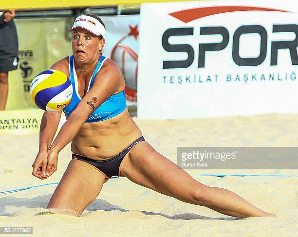 Brita Buthe of Germany receives the Mikasa during the 4th day of the FIVB Antalya Open part of the FIVB Beach Volleyball World Tour on May 13 in the...
