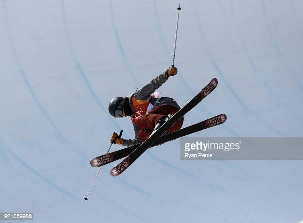 Brita Sigourney of the United States competes during the Freestyle Skiing Ladies' Ski Halfpipe Final on day eleven of the PyeongChang 2018 Winter...
