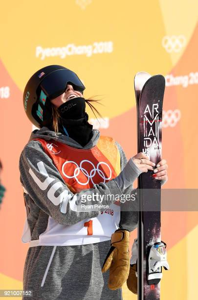 Brita Sigourney of the United States reacts after her run during the Freestyle Skiing Ladies' Ski Halfpipe Final on day eleven of the PyeongChang...